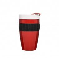 Kubek termiczny plastikowy 0,4 l Sagaform Cafe czerwono-czarno-biały