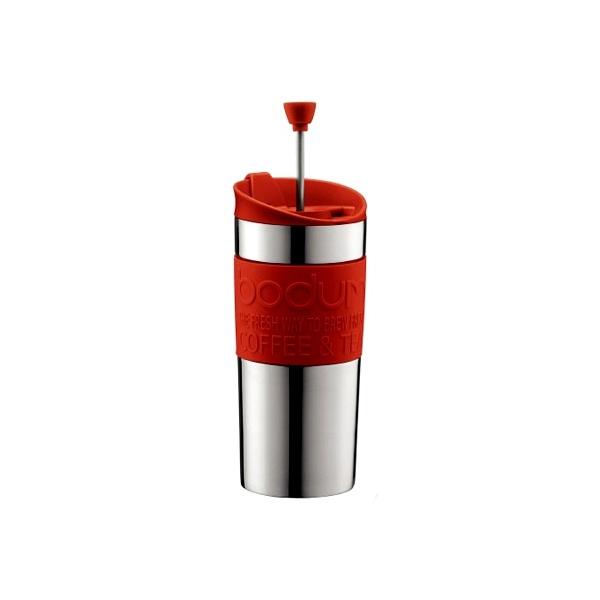 Kubek termiczny z praską 0,35 l Bodum Travel Press czerwony stalowy  BD-11067-294