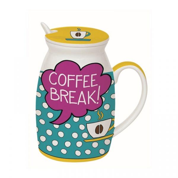 Kubek z łyżeczką i przykrywką Coffee Break Nuova R2S Have Fun Coffe Break! 100 COBE