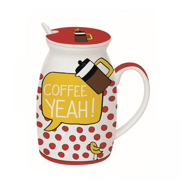 Kubek z łyżeczką i przykrywką Coffee Yeah Nuova R2S Have Fun Coffe Yeah! 100 COYE