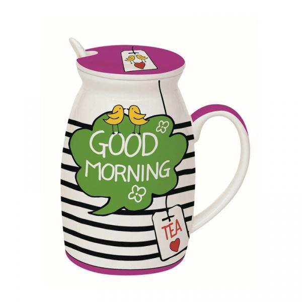 Kubek z łyżeczką i przykrywką Good Morning Nuova R2S Have Fun 100 GOMO