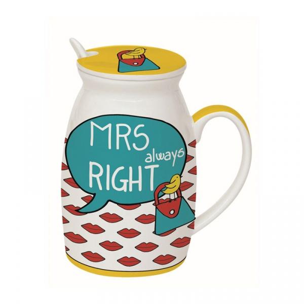 Kubek z łyżeczką i przykrywką Mrs Right 0,3L Nuova R2S Have Fun 100 ARIG