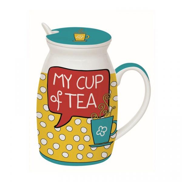 Kubek z łyżeczką i przykrywką My Cup of Tea Nuova R2S Have Fun 100 MYTE
