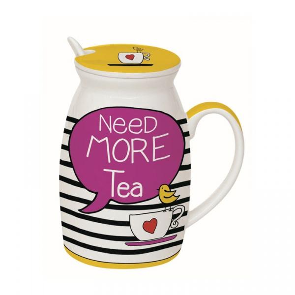 Kubek z łyżeczką i przykrywką Need More Tea Nuova R2S Have Fun 100 NETE