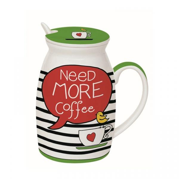 Kubek z łyżeczką i przykrywką Need More Tea Nuova R2S Have Fun Need more coffe 100 NECE
