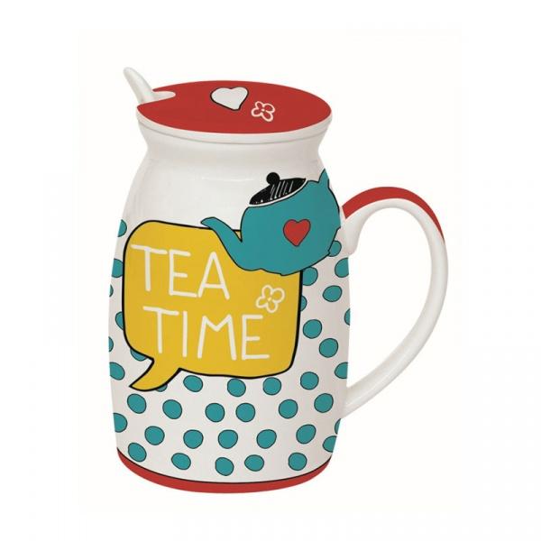 Kubek z łyżeczką i przykrywką Tea Time Nuova R2S Have Fun 100 TETI