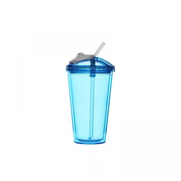 Kubek z pokrywką i słomką 450 ml Sagaform Fresh niebieski SF-5016654