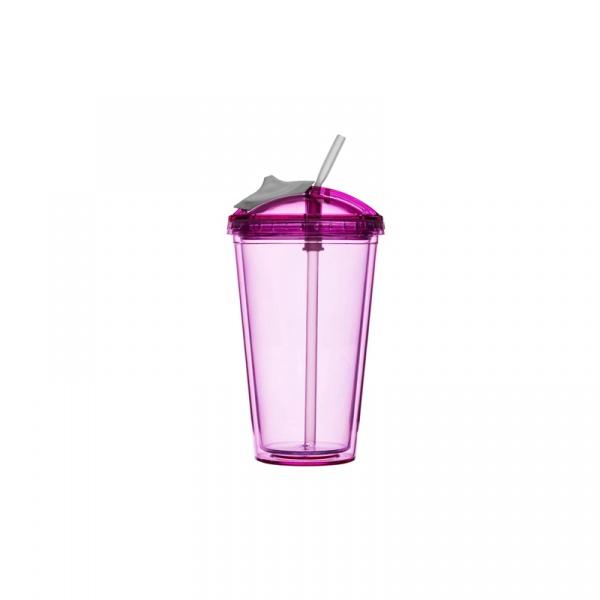 Kubek z pokrywką i słomką 450 ml Sagaform Fresh różowy SF-5016653