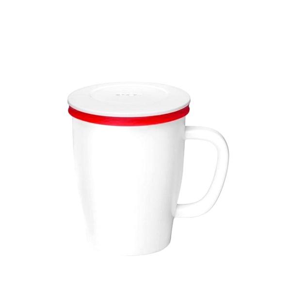 Kubek z zaparzaczem 350 ml PO: Ming biało-czerwony 14757