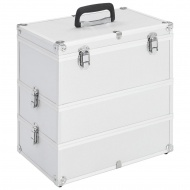 Kuferek na kosmetyki, 37 x 24 x 40 cm, srebrny, aluminiowy