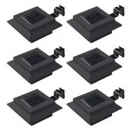 Kwadratowe lampy solarne na zewnątrz, 6 szt, LED, 12 cm, czarne