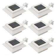 Kwadratowe lampy solarne na zewnątrz, 6 szt., LED, 12 cm, białe