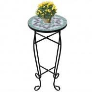 Kwietnik, stolik z mozaikowym biało-zielonym blatem