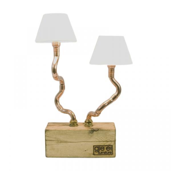 Lampa biurkowa z podwojnym abażurem Gie El miedziana LGH0210