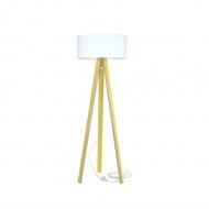 Lampa podłogowa Wanda Ragaba żółta biały abażur z transparentnym kablem