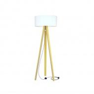Lampa podłogowa Wanda Ragaba żółta biały abażur z kablem zig zag