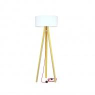 Lampa podłogowa Wanda Ragaba żółta biały abażur z czerwonym kablem