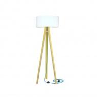 Lampa podłogowa Wanda Ragaba żółta biały abażur z turkusowym kablem
