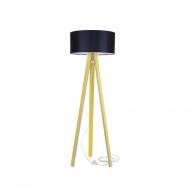 Lampa podłogowa Wanda Ragaba żółta czarny abażur z transparentnym kablem