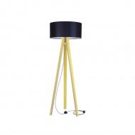 Lampa podłogowa Wanda Ragaba żółta czarny abażur z kablem zig zag