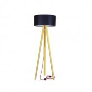 Lampa podłogowa Wanda Ragaba żółta czarny abażur z czerwonym kablem