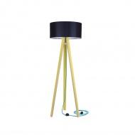 Lampa podłogowa Wanda Ragaba żółta czarny abażur z turkusowym kablem