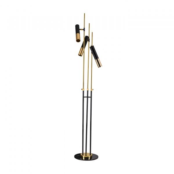 Lampa stojąca 180cm Step into design Golden Pipe 3 złoto-czarna 5903351255462