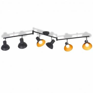 Lampa sufitowa na 6 żarówek E27, czarno-złota