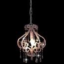 Lampa sufitowa z koralikami, różowa, okrągła, E14