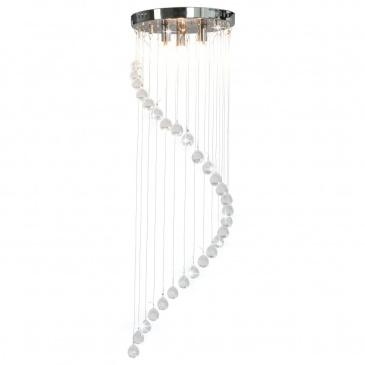 Lampa sufitowa z kryształami i koralikami, srebrna, spirala, G9