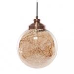 Lampa wisząca szklana miedziana BENI mała