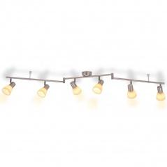 Lampa wisząca z 6 żarówkami srebrna