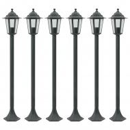 Lampy ogrodowe, 110 cm, E27, aluminium, ciemnozielone, 6 szt.