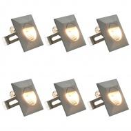 Lampy ścienne zewnętrzne LED, 6 szt., 5 W, srebrne, kwadratowe