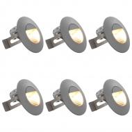 Lampy ścienne zewnętrzne LED, 6 szt., 5 W, srebrne, okrągłe