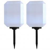Lampy solarne na zewnątrz, 2 szt., LED, 30 cm, białe
