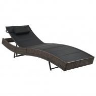 Leżak, polirattan i textilene, brązowy