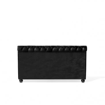 Łóżko czarne tapicerowane 160 x 200 cm AVALLON