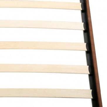 Łóżko z materacem, brązowe, tkanina, 160 x 200 cm
