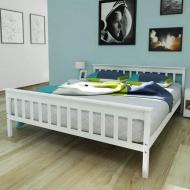 Łóżko z materacem z pianki memory, 160x200 cm, sosnowe, białe