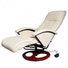 Masujący fotel elektryczny ze skóry syntetycznej, kremowy