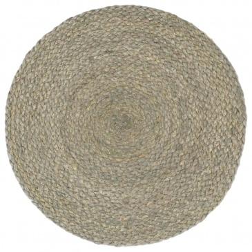 Maty na stół, 6 szt., gładkie, szare, 38 cm, okrągłe, juta