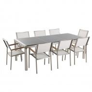 Meble ogrodowe - stół granitowy 220 cm szary polerowany z 8 białymi krzesłami - Efraim