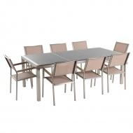 Meble ogrodowe - stół granitowy 220 cm szary polerowany z 8 beżowymi krzesłami - Efraim