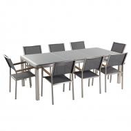 Meble ogrodowe - stół granitowy 220 cm szary polerowany z 8 szarymi krzesłami - Efraim