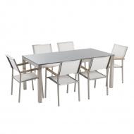 Meble ogrodowe - stół granitowy - cała płyta - 180 cm szary polerowany z 6 białymi krzesłami - Edmon