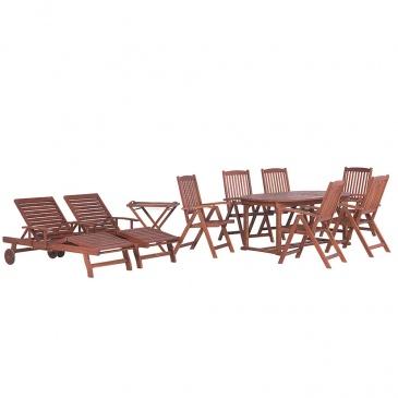 Meble ogrodowe - stół rozkładany, 6 krzeseł, 2 leżanki, 1 stolik - TOSCANA