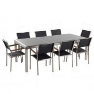Meble ogrodowe z granitu szary polerowany - stół 220cm blat 3cz. - 8 x krzesła z siedziskiem z włókn