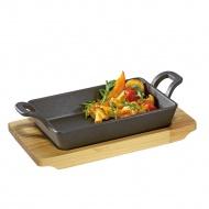 mini brytfanna do serwowania z podstawką, 21,5 x 12,5 x 6 cm, żeliwo/drewno sosnowe