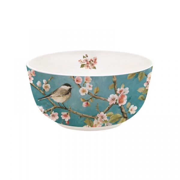 Misa porcelanowa 14cm Nuova R2S Romantic niebieska z wróbelkiem 337 BLOS